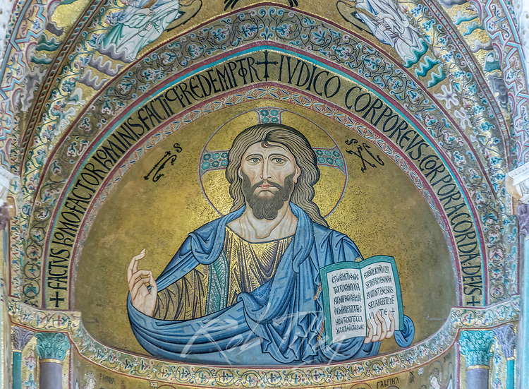Europe, Italy, Sicily, Cefalu, Cefalu Cathedral completed in the 12th century, Mosaic of Jesus Christ Pantocrator