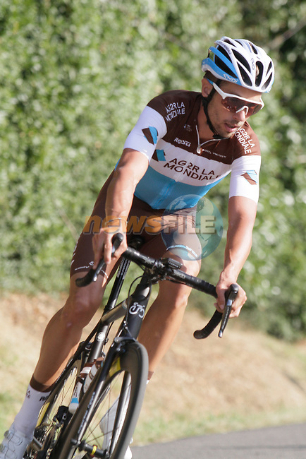 Mikaël Cherel (FRA) AG2R La Mondiale in action during the Criterium Castillon La Bataille 2019 the first criterium after the Tour de France held around Ville de Castillon-la-Bataille, France. 6th August 2019.<br /> Picture: Colin Flockton | Cyclefile<br /> All photos usage must carry mandatory copyright credit (© Cyclefile | Colin Flockton)