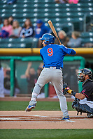 Chesny Young (9) of the Iowa Cubs at bat against the Salt Lake Bees in Pacific Coast League action at Smith's Ballpark on May 13, 2017 in Salt Lake City, Utah. Salt Lake defeated Iowa  5-4. (Stephen Smith/Four Seam Images)