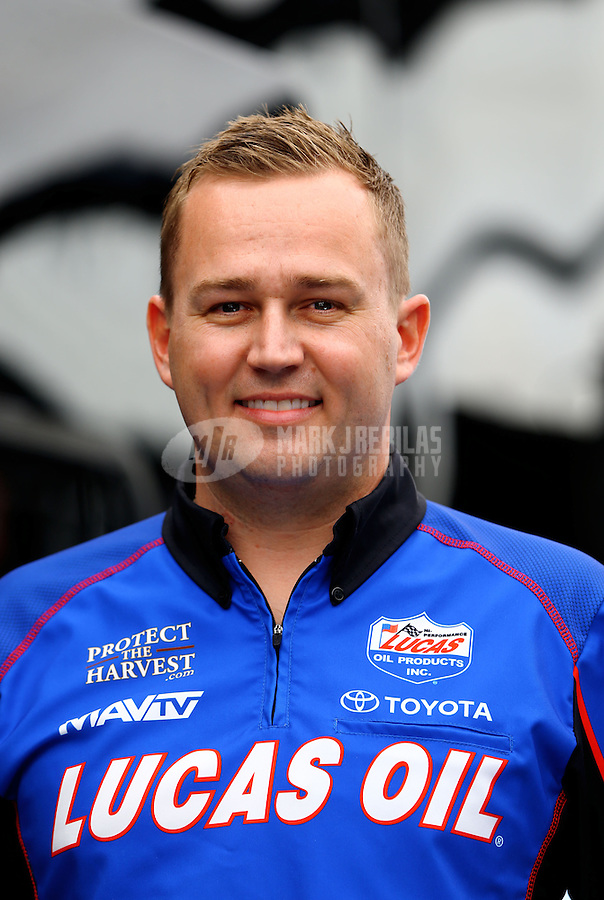 Apr 10, 2015; Las Vegas, NV, USA; NHRA top fuel driver Richie Crampton poses for a portrait during qualifying for the Summitracing.com Nationals at The Strip at Las Vegas Motor Speedway. Mandatory Credit: Mark J. Rebilas-
