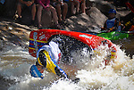 June 4, 2016 - Lyons, Colorado, U.S. -  French paddler and current European Junior Champion, Tom Dolle, in freestyle kayak action on the South Saint Vrain River at the Lyons Outdoor Games, Lyons, Colorado.