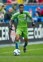 25 April 2010: Seattle Sounders defender James Riley #7 in action during a game between the Seattle Sounders and Toronto FC at BMO Field in Toronto..Toronto FC won 2-0....