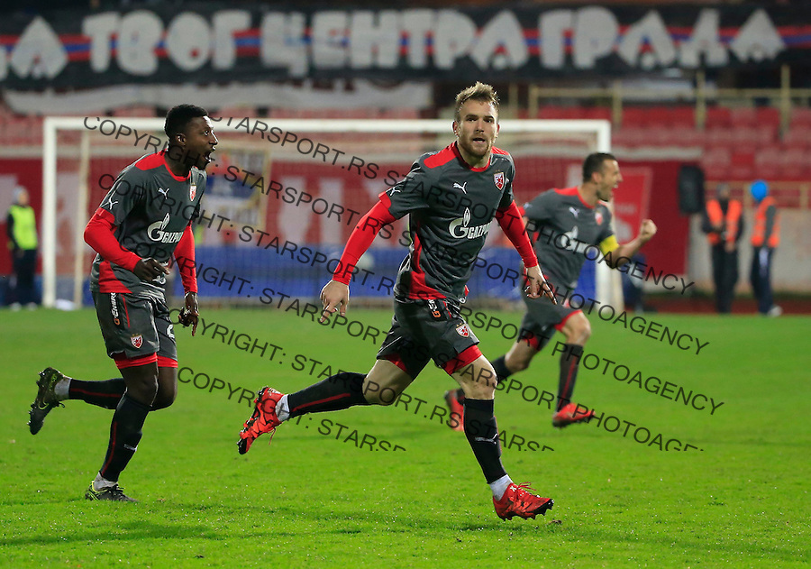 Fudbal Jelen Super League season 2015-2016<br /> Radnicki Nis v Crvena Zvezda<br /> Aleksandar Katai (C) celebrate the goal with the team mates Mitchell Donald and Aleksandar Lukovic<br /> Nis, 22.11.2015.<br /> foto: Srdjan Stevanovic/Starsportphoto&copy;