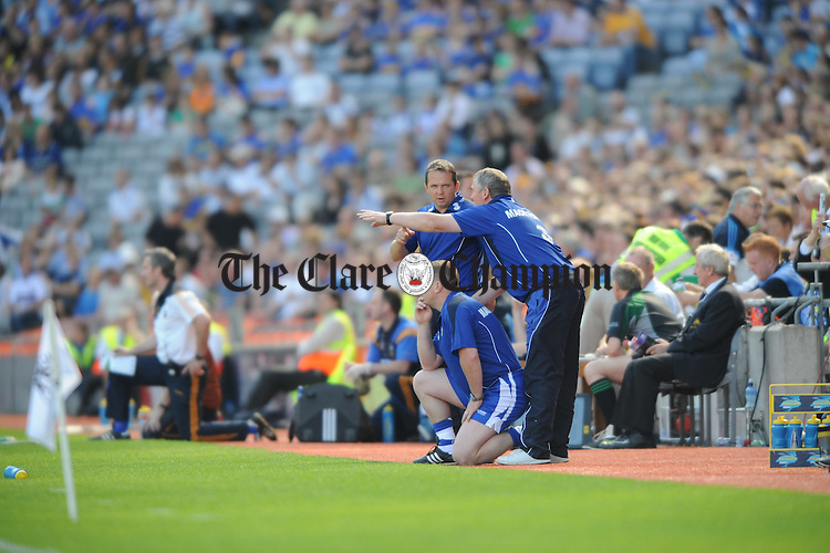 Davy Fitzgerald and the Waterford management during the senior All-Ireland semi final at Croke Park. Photograph by John Kelly..