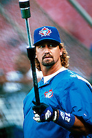 Charlie O'Brien of the Toronto Blue Jays during a game at Anaheim Stadium in Anaheim, California during the 1997 season.(Larry Goren/Four Seam Images)