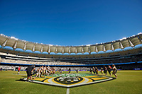 Welcome to Country is performed, Rabbitohs v Vodafone Warriors, NRL rugby league premiership. Optus Stadium, Perth, Western Australia. 10 March 2018. Copyright Image: Daniel Carson / www.photosport.nz
