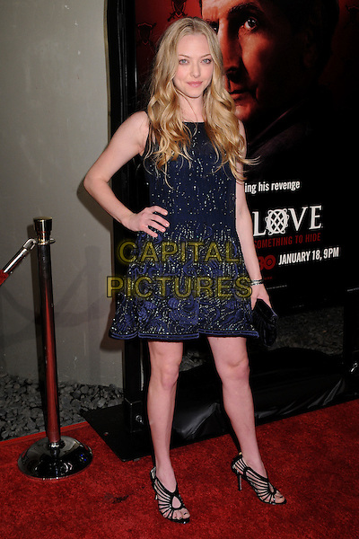 "AMANDA SEYFRIED .HBO's ""Big Love"" 3rd Season Premiere at the Cinerama Dome, Hollywood, California, USA..January 14th, 2009.full length dress blue beads beaded strappy sandals black hand on hip clutch bag .CAP/ADM/BP.©Byron Purvis/AdMedia/Capital Pictures."