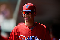 Philadelphia Phillies Juan Herrera (22) in the dugout during a Florida Instructional League game against the Baltimore Orioles on October 4, 2018 at Ed Smith Stadium in Sarasota, Florida.  (Mike Janes/Four Seam Images)