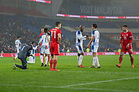 Players react on the full time whistle of the International Friendly match between Wales and Panama at the Cardiff City Stadium, Cardiff, Wales on 14 November 2017. Photo by Mark Hawkins.