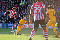 Lincoln City's Bruno Andrade scores the opening goal<br /> <br /> Photographer Andrew Vaughan/CameraSport<br /> <br /> The EFL Sky Bet League Two - Lincoln City v Northampton Town - Saturday 9th February 2019 - Sincil Bank - Lincoln<br /> <br /> World Copyright &copy; 2019 CameraSport. All rights reserved. 43 Linden Ave. Countesthorpe. Leicester. England. LE8 5PG - Tel: +44 (0) 116 277 4147 - admin@camerasport.com - www.camerasport.com