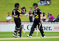 Firebirds openers Hamish Marshall (left) and Luke Ronchi during the Burger King Super Smash Twenty20 cricket match between the Wellington Firebirds and Otago Volts at the Hawkins Basin Reserve in Wellington, New Zealand on Sunday, 31 December 2017. Photo: Dave Lintott / lintottphoto.co.nz