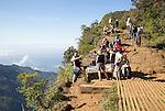 Tourists at viewing platform World's End cliff at Horton Plains national park, Sri Lanka, Asia
