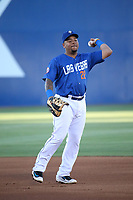 Dominic Smith (22) of the Las Vegas 51s during a game against the Sacramento River Cats at Cashman Field on June 15, 2017 in Las Vegas, Nevada. Las Vegas defeated Sacramento, 12-4. (Larry Goren/Four Seam Images)
