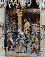 Jesus shouting abuse at the moneylenders in the temple in Jerusalem, c. 1523, donated by canon Jean Witz, d. 1522 or 1523, high relief from the West side of the North transept of the Basilique Cathedrale Notre-Dame d'Amiens or Cathedral Basilica of Our Lady of Amiens, built 1220-70 in Gothic style, Amiens, Picardy, France. Amiens Cathedral was listed as a UNESCO World Heritage Site in 1981. Picture by Manuel Cohen