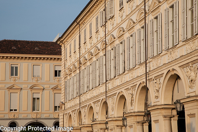 Main facades of the St Carlo Square in Turin - Torino, Italy