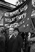 Irish Republican Socialist Party Manchester banner.  Committee for Withdrawal from Ireland march from Embankment to Camden Town, London.
