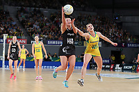 23.09.2018 Silver Ferns Gina Crampton and Australia's Gabi Simpson in action during the Silver Ferns v Australia netball test match at the Melbourne Arena in Melbourne, Australia. Mandatory Photo Credit ©Michael Bradley.