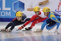 "SHORT TRACK: MOSCOW: Speed Skating Centre ""Krylatskoe"", 13-03-2015, ISU World Short Track Speed Skating Championships 2015, 1500m Men, Yi Ra SEO (#143 | KOR), Samuel GIRARD (#109 | CAN), Nurbergen ZHUMAGAZIYEV (#139 | KAZ)©photo Martin de Jong"