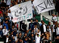 MANIZALES-COLOMBIA, 20-04-2019: Hinchas de Once Caldas durante partido de la fecha 17 entre Once Caldas y La Equidad, por la Liga Águila I 2019, jugado en el estadio Palogrande de la ciudad de Manizales. / Fans of Once Caldas during a match of the 17th date between Once Caldas and La Equidad, for the Aguila Leguaje I 2019 played at the Palogrande stadium in Manizales city. / Photo: VizzorImage / Santiago Osorio / Cont.