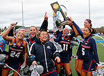EASTON, MA - NOVEMBER 20:  Taylor Fisher (11) of Shippensburg University holds up the trophy as her teammates celebrate after their 2-1 win over LIU Post in the NCAA Division II Field Hockey Championship at WB Mason Stadium on November 20, 2016 in Easton, Massachusetts. (Photo by Winslow Townson/NCAA Photos via Getty Images)