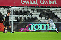 Freddie Woodman of Swansea City makes a save during the Sky Bet Championship match between Swansea City and Charlton Athletic at the Liberty Stadium in Swansea, Wales, UK.  Thursday 02 January 2020