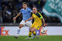 7th November 2019, Rome, Italy; UEFA Europa League football , group stages, Lazio versus Glasgow Celtic;  Scott Brown of Celtic and Ciro Immobile of Lazio challenge for the loose ball - Editorial Use