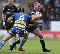 Hull FC's Danny Washbrook is tackled by Warrington Wolves' Chris Hill <br /> <br /> Photographer Stephen White/CameraSport<br /> <br /> Betfred Super League Round 15 - Warrington Wolves v Hull FC - Saturday 18th May 2019 - Halliwell Jones Stadium - Warrington<br /> <br /> World Copyright © 2019 CameraSport. All rights reserved. 43 Linden Ave. Countesthorpe. Leicester. England. LE8 5PG - Tel: +44 (0 116 277 4147 - admin@camerasport.com - www.camerasport.com