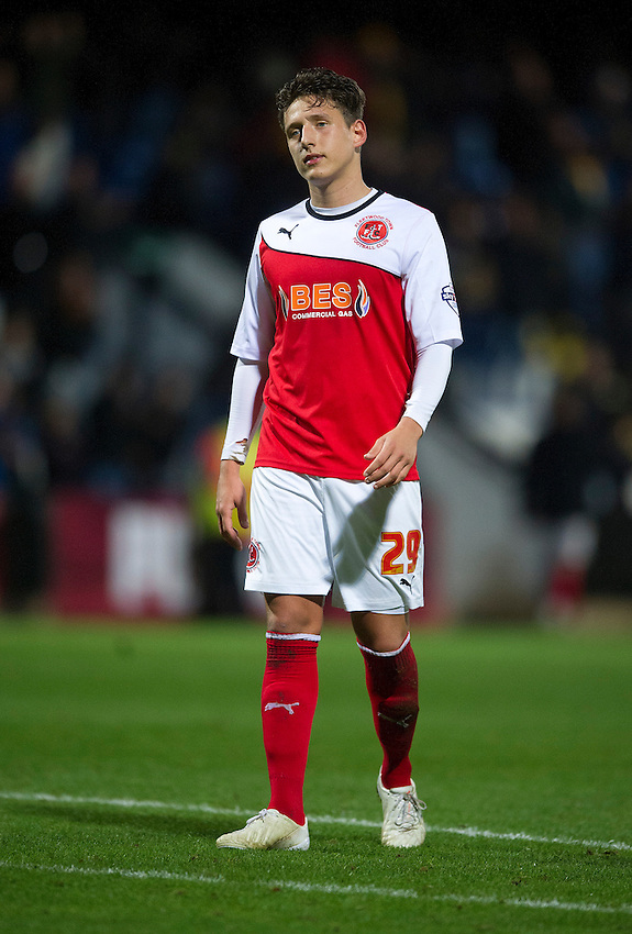 Fleetwood Town's Tom Hitchcock shows his disappointment at the final whistle as his team lose 1-0<br /> <br /> Photographer Stephen White/CameraSport<br /> <br /> Football - FA Challenge Cup First Round - Cambridge United v Fleetwood Town - Saturday 8th November 2014 - R Costings Abbey Stadium - Cambridge<br /> <br />  &copy; CameraSport - 43 Linden Ave. Countesthorpe. Leicester. England. LE8 5PG - Tel: +44 (0) 116 277 4147 - admin@camerasport.com - www.camerasport.com