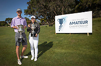 Sam Jones and Doey Choi with the New Zealand Amateur Golf Championship Trophy's, Remuera Gold Club, Auckland, New Zealand. Sunday 3rd st November 2019. Photo: Greg Bowker/www.bwmedia.co.nz/NZGolf<br /> COPYRIGHT:© www.bwmedia.co.nz