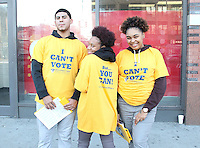NEW YORK, NY - OCTOBER 14: High school students from Democracy Prep Charter School in East Harlem conduct a voter registration drive on 125th Street on the final day to register to vote in New York State to be eligible to vote in the November election in New York, New York on October 14, 2016.  Photo Credit: Rainmaker Photo/MediaPunch