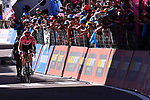 Race leader Tom Dumoulin (NED) Team Sunweb attacks Nairo Quintana (COL) Movistar and Vincenzo Nibali (ITA) Bahrain-Merida to the finish line of Stage 18 of the 100th edition of the Giro d'Italia 2017, running 137km from Moena to Ortisei/St. Ulrich, Italy. 25th May 2017.<br /> Picture: LaPresse/Gian Mattia D'Alberto | Cyclefile<br /> <br /> <br /> All photos usage must carry mandatory copyright credit (&copy; Cyclefile | LaPresse/Gian Mattia D'Alberto)
