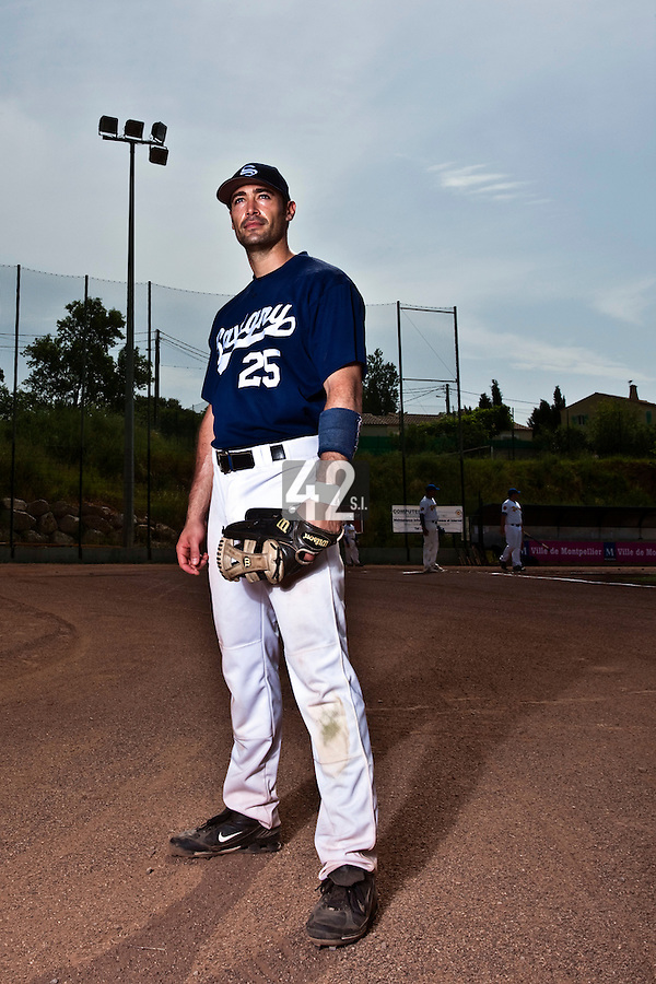 23 May 2009: Jerome Rousseau of Savigny poses prior to a game against Senart during the 2009 challenge de France, a tournament with the best French baseball teams - all eight elite league clubs - to determine a spot in the European Cup next year, at Montpellier, France. Savigny wins 4-1 over Senart.