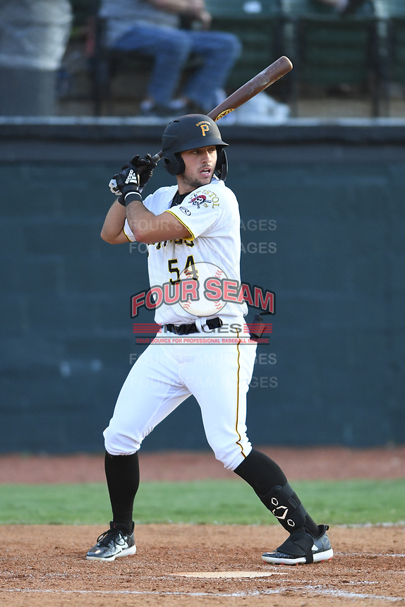 Bristol Pirates Marshall Gilbert (54) bats against the Pulaski Yankees at Boyce Cox Field on July 8, 2019 in Bristol, Virginia. The Yankees defeated the Pirates 5-0. (Tracy Proffitt/Four Seam Images)