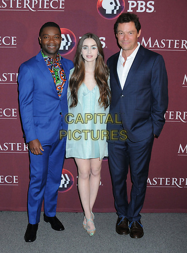 "08 April 2019 - New York, New York - David Oyelowo, Lily Collins and Dominic West at Times Talk with cast of ""LES MISERABLES"" at the Times Center. <br /> CAP/ADM/LJ<br /> ©LJ/ADM/Capital Pictures"