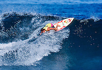 Ross Clarke Jones (AUS) surfing at Rocky Point on Oahu's North Shore in the late 80's. circa 1988. Photo: joliphotos.com