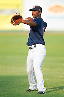 Jamaal Hawkins #12 of the Elizabethton Twins at Joe O'Brien Field August 14, 2010, in Elizabethton, Tennessee.  Photo by Brian Westerholt / Four Seam Images