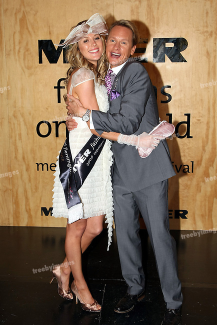 TV star Carson Kressley with the winner of Fashions on the Field, Oaks Day,Melbourne Cup Carnival, 6-10-08