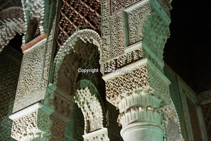 Interior of the Saadian Tombs, Kasbah, Marrakech.