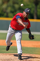 Atlanta Braves pitcher Daniel Lopez #48 during an Instructional League game against the Pittsburgh Pirates at Pirate City on October 14, 2011 in Bradenton, Florida.  (Mike Janes/Four Seam Images)