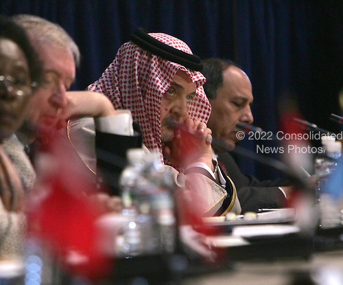 Saud Al-Faisal, Minister of Foreign Affairs, Saudi Arabia listens to Israeli Prime Minister Ehud Olmert speak during the opening session Middle East Peace Conference  at the U. S Naval Academy in Annapolis, Maryland on November 27, 2007 Agency pool photo by Dennis Brack/Black Star