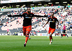Leon Clarke of Sheffield Utd celebrates scoring the first goal during the English League One match at  Stadium MK, Milton Keynes. Picture date: April 22nd 2017. Pic credit should read: Simon Bellis/Sportimage