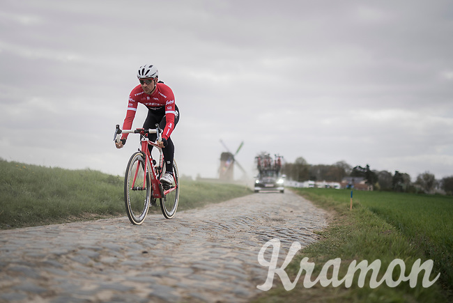 Edward Theuns (BEL/Trek-Segafredo) on the Templeuve sector (Moulin de Vertain)<br /> <br /> Team Trek-Segafredo during their 2017 Paris-Roubaix recon, 3 days prior to the event.