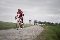 Edward Theuns (BEL/Trek-Segafredo) on the Templeuve sector (Moulin de Vertain)<br /> <br /> Team Trek-Segafredo during their 2017 Paris-Roubaix recon, 3 days prior to the event.