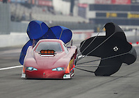Feb 10, 2017; Pomona, CA, USA; NHRA top alcohol funny car driver Chip Beverett during qualifying for the Winternationals at Auto Club Raceway at Pomona. Mandatory Credit: Mark J. Rebilas-USA TODAY Sports