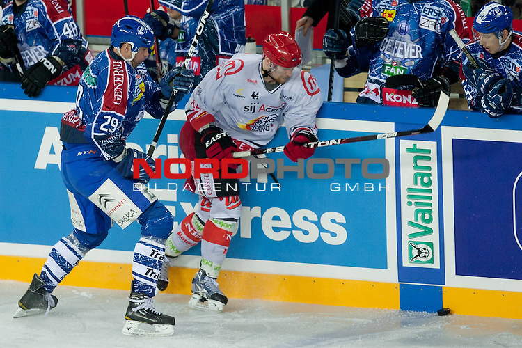 08.01.2012, Arena Zagreb, Zagreb, Kroatien, CRO, EBEL, KHL Medvescak Zagreb vs HK Acroni Jesenice, im Bild Joel Prpic (KHL Medvescak Zagreb, #29) vs Andrej Tavzelj (HK Acroni Jesenice, #44) // during ice-hockey match between KHL Medvescak Zagreb and HK Acroni Jesenice in 39th Round of EBEL league, on Januar 8, 2012 at Arena Zagreb, Zagreb, Croatia. Foto &copy; nph /    Matic Klansek Velej<br /> <br /> ***** ATTENTION - OUT OF SLO ***** *** Local Caption ***