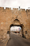 Israel, Jerusalem, Dung Gate at the southern wall of the Old City<br />