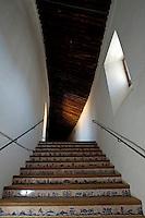 Decorated staircase inside Plaza de Toros de Ronda, a bullring arena in Ronda, Andalusia, Spain.