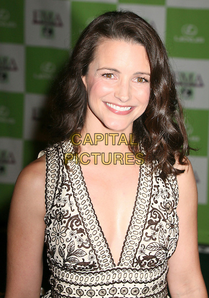 KRISTIN DAVIS.16th Annual Environmental Media Awards at the Ebell Club of Los Angeles,  Los Angeles, California, USA,.08 November 2006..half length brown and cream white patterned print halterneck dress.CAP/ADM/BP.©Byron Purvis/AdMedia/Capital Pictures. *** Local Caption *** .