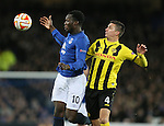 Romelu Lukaku of Everton controls the bal  under pressure from Milan Vilotic of BSC Young Boys - UEFA Europa League Round of 32 Second Leg - Everton vs Young Boys - Goodison Park Stadium - Liverpool - England - 26th February 2015 - Picture Simon Bellis/Sportimage