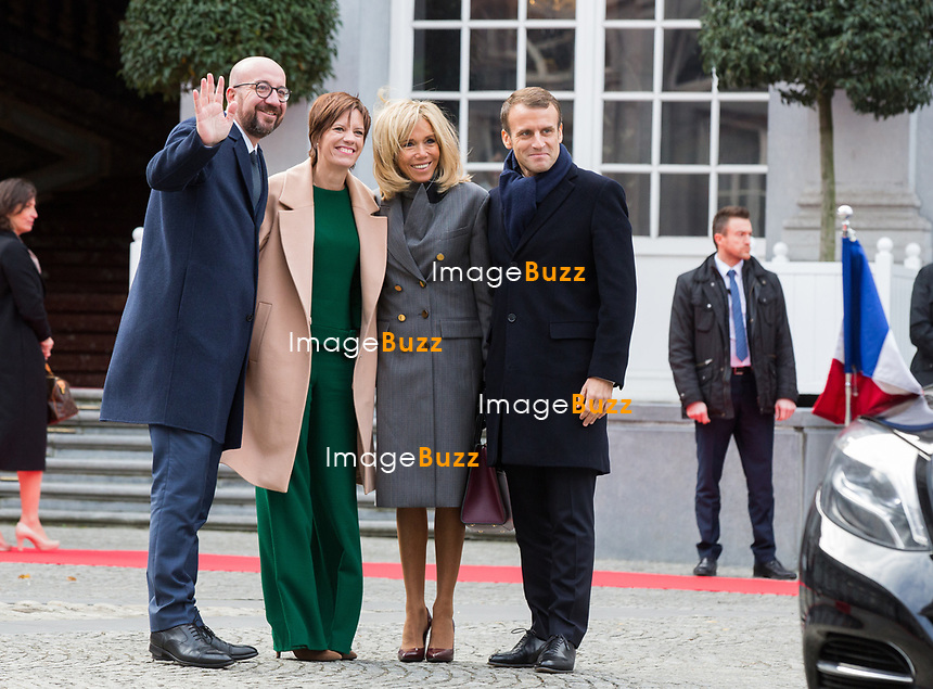 Le président français Emmanuel Macron et Brigitte Macron rencontrent le Premier Ministre belge Charles Michel et sa femme Amelie Derbaudrenghien, au Palais d'Egmont à Bruxelles, lors d'une visite d'état en Belgique.<br /> Belgique, Bruxelles, 19 novembre 2018.<br /> French President Emmanuel Macron, her wife Brigitte Macron meet with Belgian Prime Minister Charles Michel at the Egmont Palace, during a State Visit to Belgium.<br /> Belgium, Brussels, 19 November 2018.